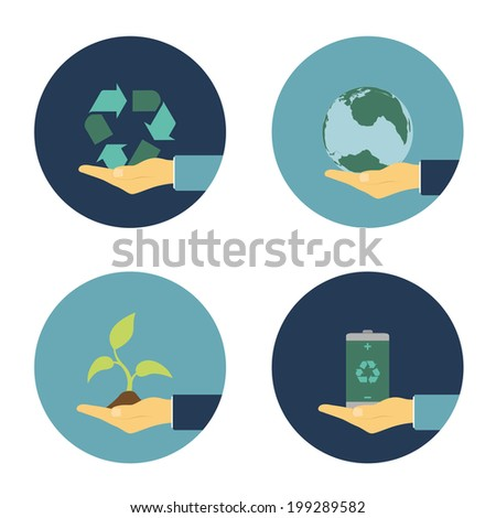 set of flat icons with human hand holding recycling sign, eco battery, sprout and earth planet, ecology alternative energy concept - stock vector