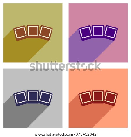 Set of flat icons with long shadow photo - stock vector