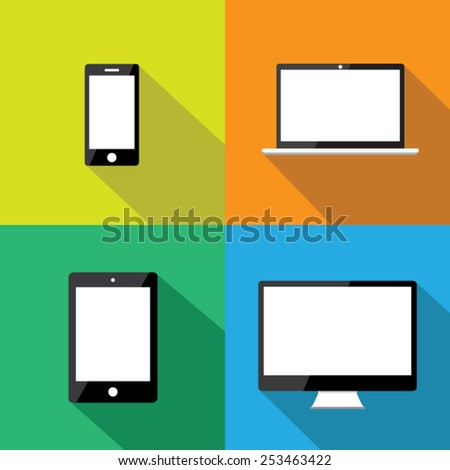 Set of flat icons with long shadow vector illustration eps10 : Mobile devices. - stock vector