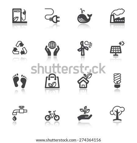 Set of flat icons with reflection about ecology - stock vector
