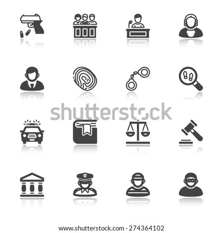 Set of flat icons  with reflection about law - stock vector