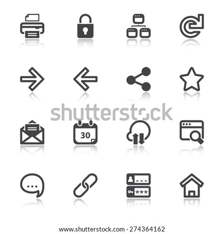 Set of flat icons with reflection about web