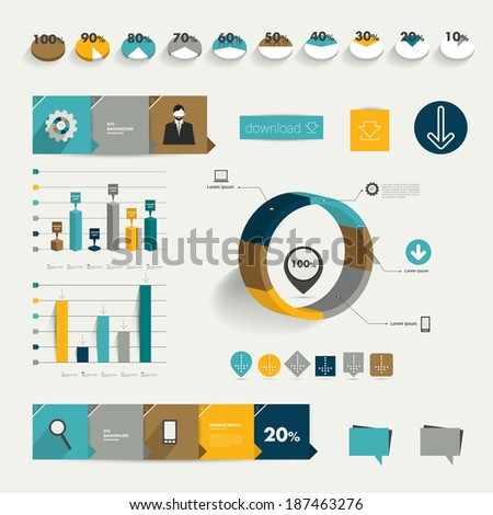 Set of flat infographic elements. Diagrams, speech bubbles, graphs, pie charts and icons. Vector shapes. - stock vector