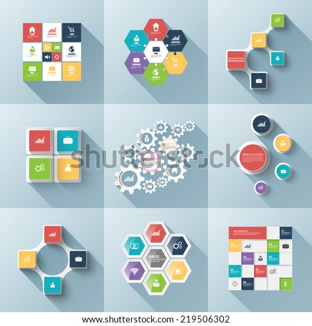 Set of flat infographics with a long shadow - stock vector