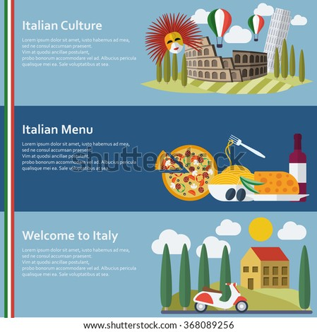 Set of  flat Italy web banners. Vector illustration. - stock vector