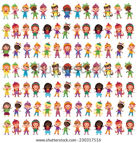 Set of  flat kids in bright costumes. Children group. Curbs, seamless pattern for packaging - stock vector