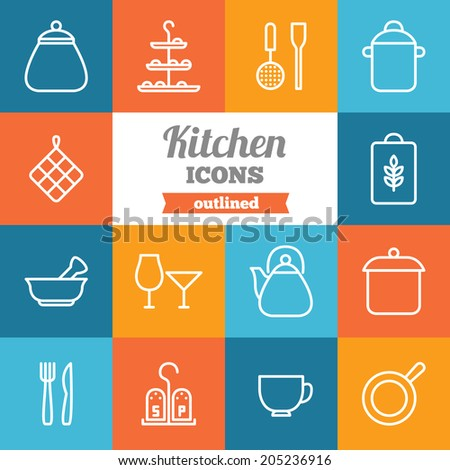 Set of flat kitchen icons  - stock vector