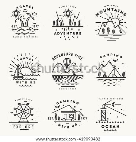 Set of 9 flat line art travel logotypes - stock vector