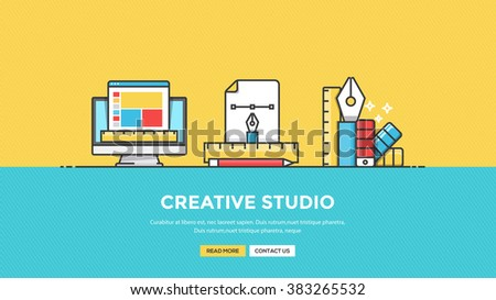 Set of Flat Line Color Banner Design Concept for Design Studio. Vector - stock vector