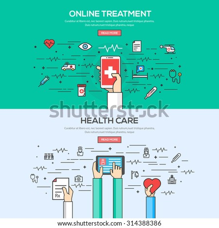 Set of Flat Line Color Banner Design Concept for Online Treatment and Health care. Concepts web banner and printed materials.Vector - stock vector