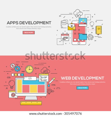Set of Flat Line Color Banners Design Concept for Apps Development and Web Development. Vector - stock vector