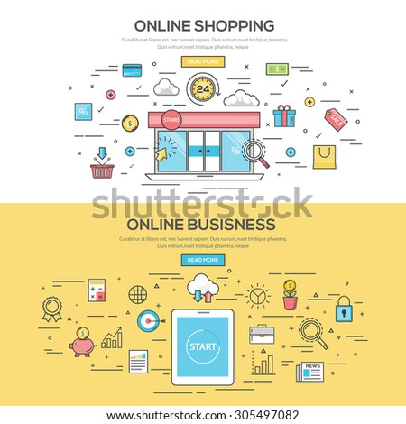 Set of Flat Line Color Banners Design Concept for Online Shopping and Online Business. Concepts web banner and printed materials.Vector - stock vector