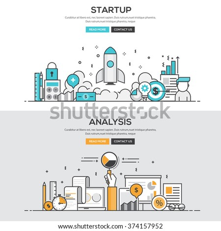 Set of Flat Line Color Banners Design Concepts for Startup and Analysis. Vector