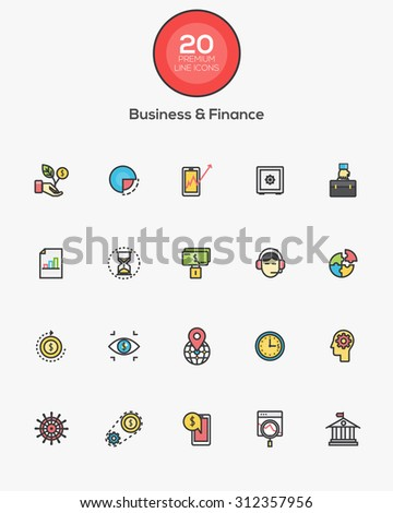 Set of Flat Line Color Business and Finance icons. Vector - stock vector