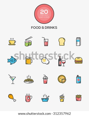 Set of Flat Line Color Food and Drinks icons. Vector - stock vector