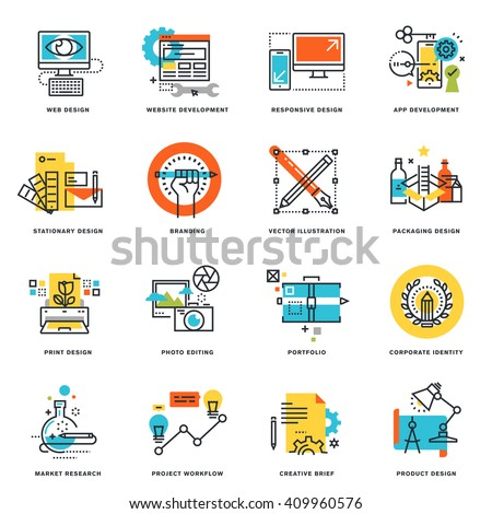 Set of flat line design icons of graphic design, website and app design and development. Vector illustration concepts. - stock vector