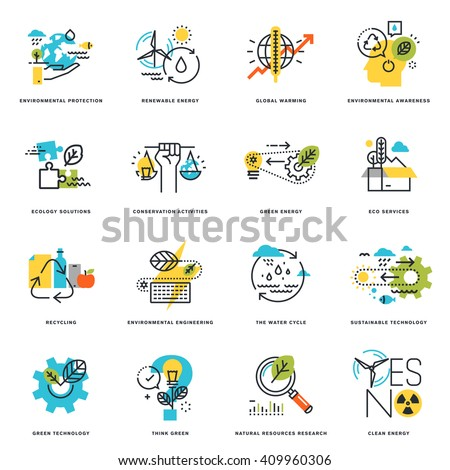 Set of flat line design icons of nature, ecology, green technology and recycling. Vector illustration concepts for graphic and web design and development, isolated on white. - stock vector