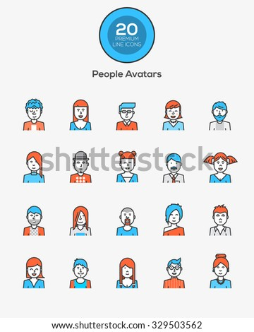Set of flat line design people icon avatars for social network and your design. Vector Illustration - stock vector