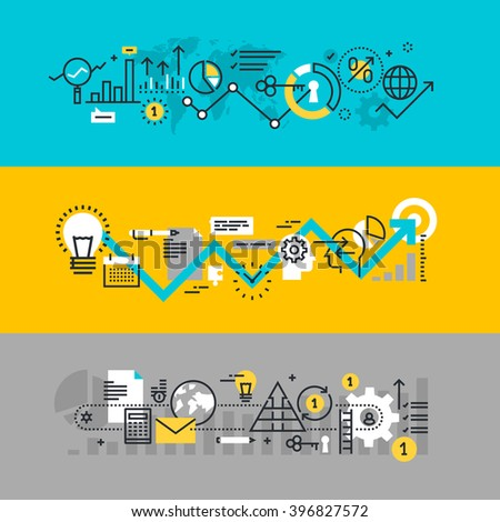 Set of flat line design web banners for business process, development process from idea to realization, market research. Vector illustration concepts for web design, marketing, and graphic design. - stock vector