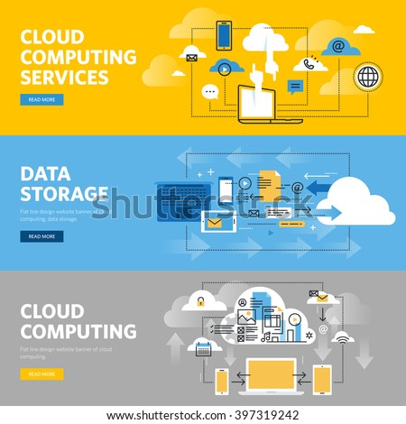 Set of flat line design web banners for cloud computing services and technology, data storage. Vector illustration concepts for web design, marketing, and graphic design. - stock vector