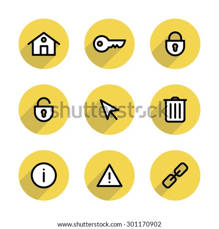 Set of flat line icons