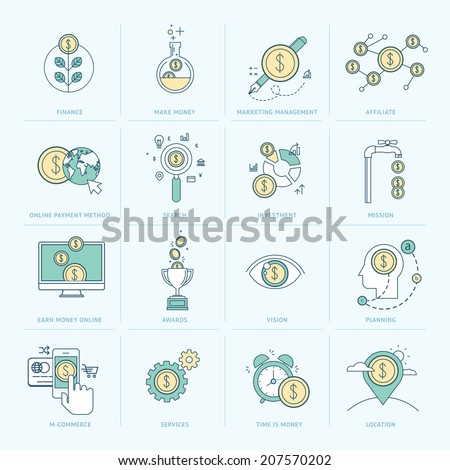 Set of flat line icons for finance. Icons for e-commerce, marketing management, affiliate, investment, online payment, m-commerce, company organization, seo. - stock vector