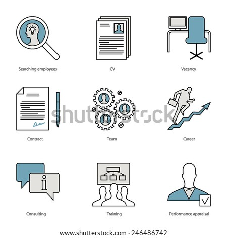 Set of flat line icons for human resource management, searching employees, teamwork, consulting, professional training, successful career, performance appraisal isolated on white  - stock vector