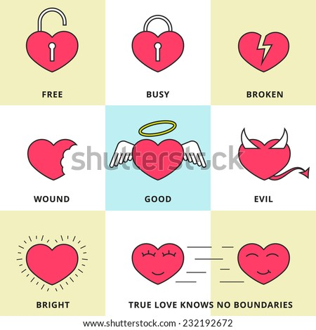 Set of flat line icons for love, dating and Valentine's Day. Looking for love, broken heart, good and evil in the heart,  joy to the heart, true love - stock vector - stock vector