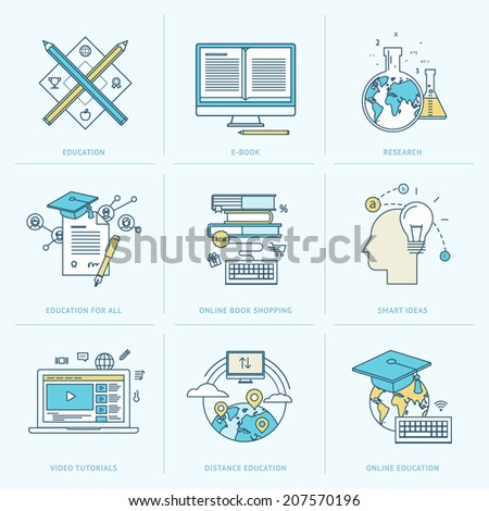 Set of flat line icons for online education. Icons for online learning, online book, video tutorial, online education, research, online book shopping, distance education, education for all. - stock vector