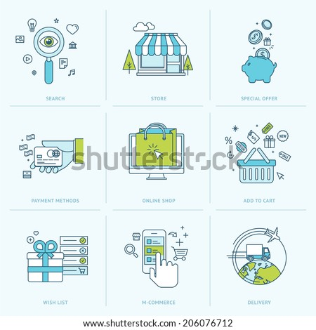 Set of flat line icons for online shopping. Icons for m-commerce, e-commerce, online shop, payment methods, delivery, internet marketing. - stock vector