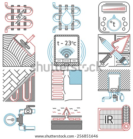 Set of flat line red, black and blue color vector icons for underfloor heating service on white background. - stock vector