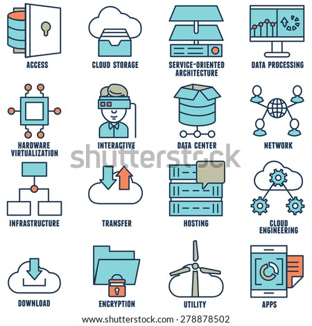 Set of flat linear cloud computing icons - part 2 - vector icons - stock vector