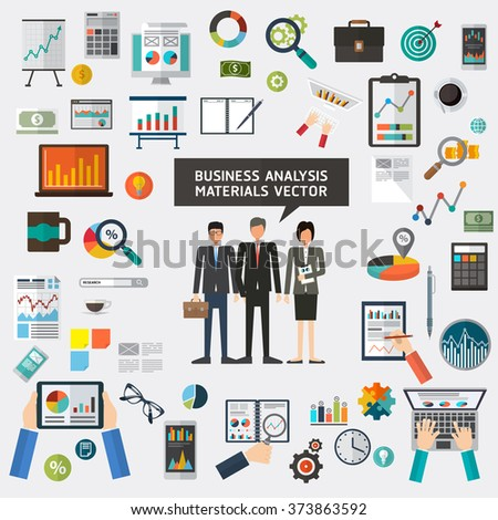 Set of flat materials design concept business analysis, analytics, analyst. business planning vector
