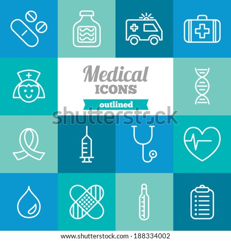 Set of flat medical icons - stock vector