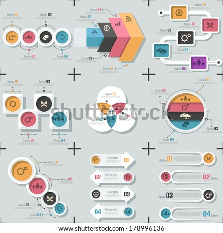 Set of 9 flat minimal infographic templates. Vector. Can be used for web design, workflow layout, social media, entertainment and games. - stock vector