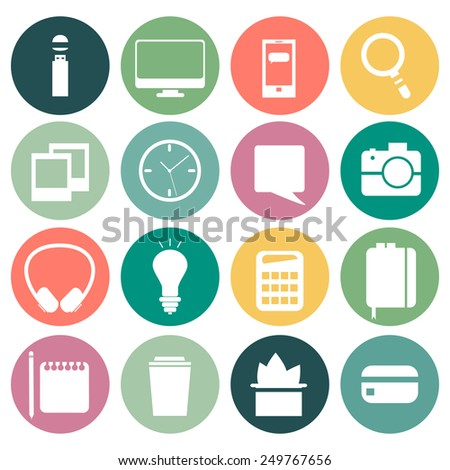 Set of flat modern design vector circle icons of office workspace, workplace, things, equipment, elements, objects, development tools. Various devices. Collection in stylish trendy colors.  - stock vector