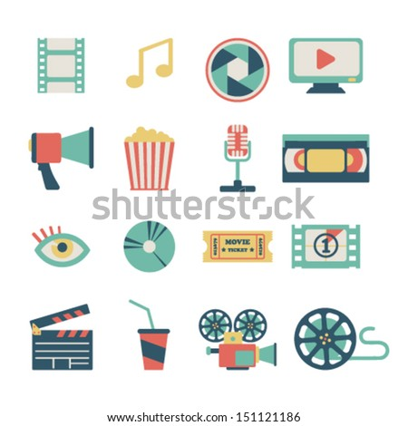set of flat movie design elements - stock vector