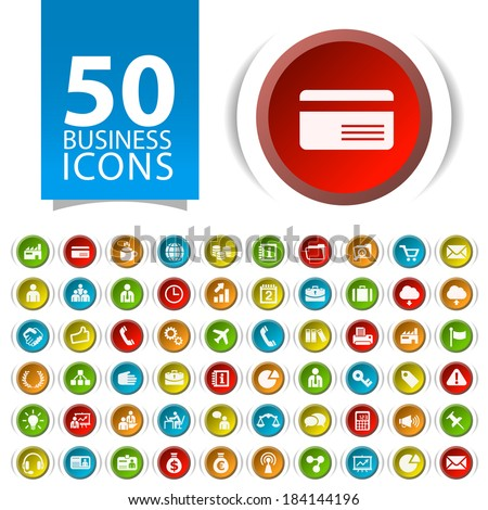 Set of 50 Flat Multimedia Icons on Circular Buttons. - stock vector