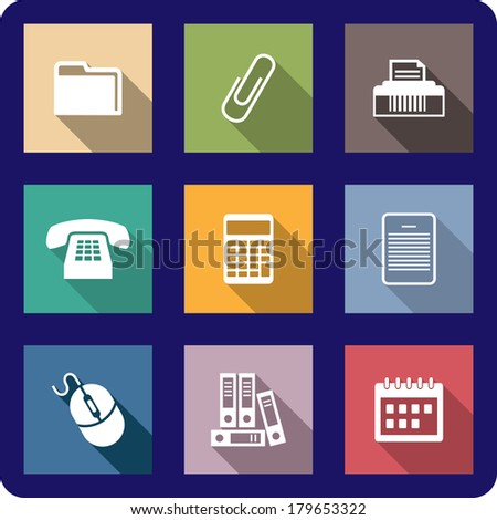 Set of flat office icons on colourful buttons including a file, printer, paper clip, fax, telephone, calculator, calendar, mouse and a document for web design - stock vector