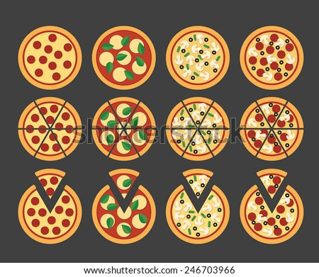 set of 12 flat pizza icons, sliced with separate pieces and unsliced - stock vector