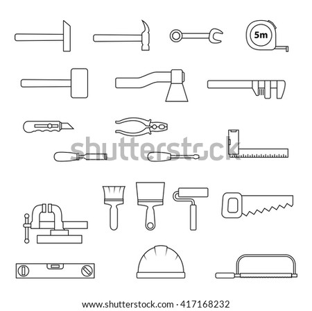 Set of flat repair and construction tool icon. Home repair signs. Worker tools. Vector illustration. - stock vector
