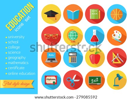 Set of flat school and education icons set. Vector illustration. - stock vector