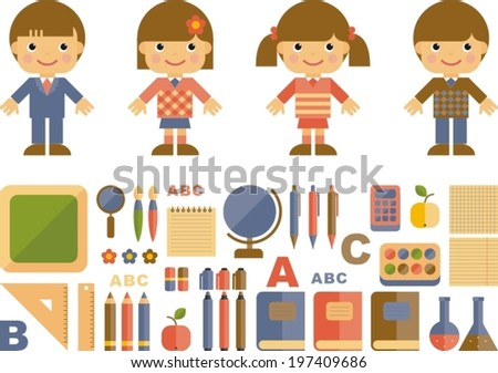 set of flat school icons - stock vector
