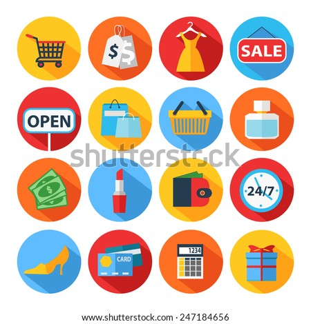 Set of flat shopping icons. Vector illustration. - stock vector