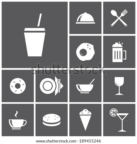 Set of flat simple colored icons (food, restaurant, kitchen), vector illustration - stock vector
