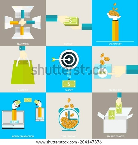 Set of flat simple icons, concept design illustrations of payments and earning methods, money transactions. Simple icons for mobile and web apps, elements for website pages. - stock vector