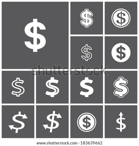Set of flat simple web icons (dollar sign, money, finance, banking), vector illustration - stock vector