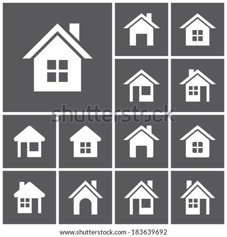 Set of flat simple web icons (home button, homepage, houses, real estate ), vector illustration - stock vector