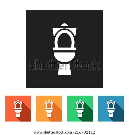 Set of flat simple web icons (toilet, wc, closet, lavatory ), vector illustration - stock vector