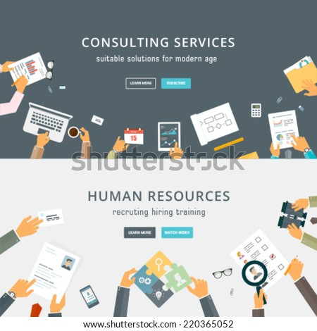 Set of Flat Style Designs. Business Concepts. Human Resources. Teamwork, Consulting, Planning, Brainstorming and Presentation Concepts Design. Marketing and Online Payments. - stock vector
